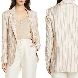 Joie Kishina Stripe Blazer Jacket Work Sherbet